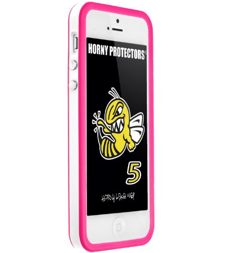 Horny Protectors Cover Case Bumper Schutzhülle für Apple iPhone 5 TPU Silikon lila/schwarz Weiß Rosa (Pink)