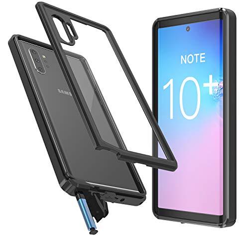 Temdan Samsung Galaxy Note 10+ Plus Hülle, Galaxy Note 10+ Plus 5G Hülle, Transparent Stoßfest 360 Grad mit Eingebautem Bildschirmschutz Armor Handyhülle für Samsung Galaxy Note 10+ Plus 5G 2019 Schwarz