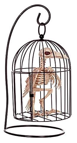Crazy Bonez Skeleton Crow in Small Cage