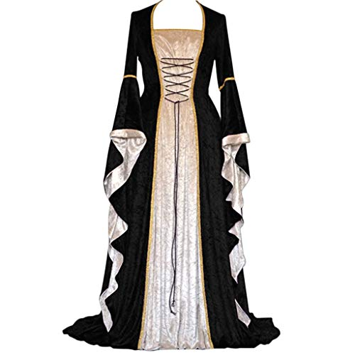 Womens Hooded Renaissance Kostüme Vintage Lace Up volle Flare Ärmel langes Kleid Empire bodenlangen Mantel Mittelalter Cosplay A-Linie Abendgesellschaft Kleid (Schwarz, XXL/EU:42)