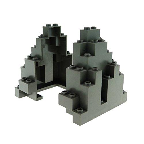 Berg Lego (2 x Lego System Fels alt-dunkel grau Felsen Berg Panele Stein Rock Mauer Wand Burg Castle Harry Potter 6083)