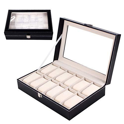 Mbuynow Uhrenbox 12 Uhren Uhrenkoffer Schaukasten Uhrenkasten Uhrenvitrine für 12 Uhren aus kunstleather uhrenbox Herren Damen (12 Uhren) (Uhrenbox)