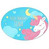 Türschild mit Namen - Hier träumt Tina - und Einhorn-Motiv für Mädchen | Kinderzimmer-Schild