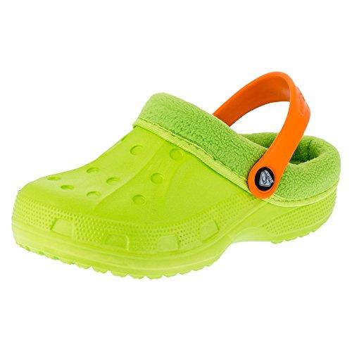 Gefütterte Kinder Clogs für Jungen und Mädchen Unisex Winter Schuhe Pantoffel M479gnor Grün Orange 24/25 EU