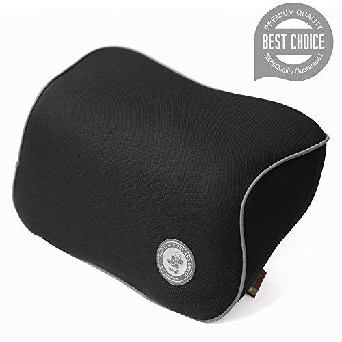FMS Auto Nackenkissen Kopfkissen, Memory-Schaum Autokissen und zervikales Kissen mit entfernbarer Abdeckung für Autositz (Schwarz)