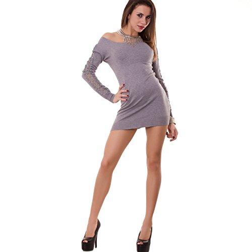 Toocool - Miniabito donna maniche ricamo strass pizzo vestito abito pull nuovo W262 Grigio