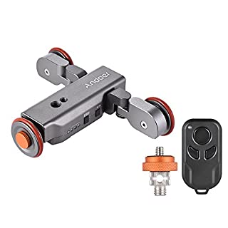 Track Dolly, Andoer Video Dolly Electric Track Slider with Wireless Remote Control 3 Speed Adjustable Chargable Mini Slider Skater for Canon Nikon Sony DSLR Camera IOS Android Smartphone (Silver)