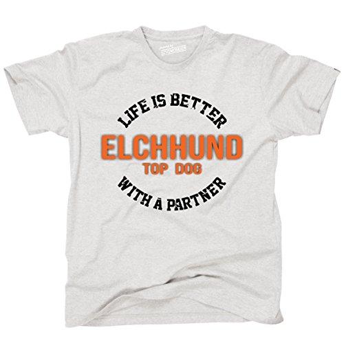 Siviwonder Unisex T-Shirt ELCHHUND ELCH - LIFE IS BETTER PARTNER Hunde Ash