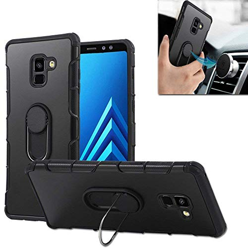Galaxy A8Plus Fall, Galaxy A72018Case Auto Mount Ring Schutzhülle mit Ständer Dual Layer PC TPU Cover 360Grad Drehbar Rugged Amor Case für Galaxy A8Plus A72018, Schwarz -