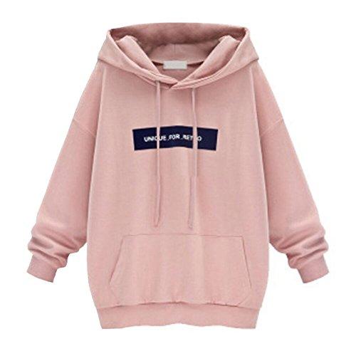 Moonuy Damen Hoodies, Frauen Herbst/Winter Neue Stil Langarm Hoodie Sweatshirt Jumper mit Kapuze Pullover Stilvolle Kleidung Elegante Bluse S~6XL (L, Rosa) (Nike 1 2 Zip)