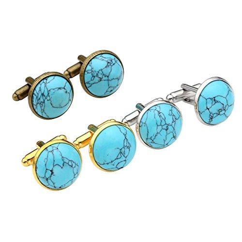 PiercingJ - Paire Boutons De Manchette Bleu Turquoise Pierre Rond Chemise Poignet Col Mariage Business Commercial Delicat Elegant Classique Cadeau Homme 6PCS/Set