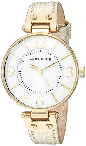 Anne Klein Women's 10/9168WTGD Gold-Tone Leather Strap Watch