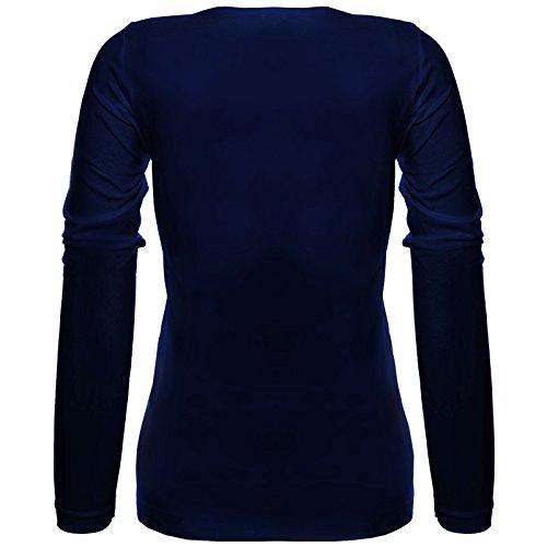BEZLIT Langarm Pullover Oberteil Bluse Tops T-Shirt mit V-Ausschnitt Basic Shirt 20640 Blau