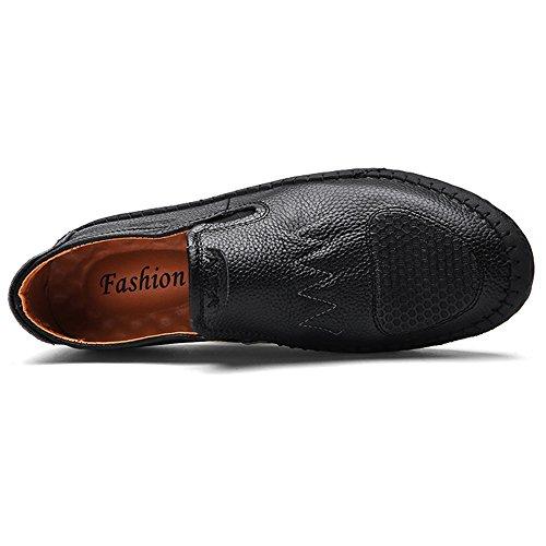 Eastlion Herren Leder Boot Schuhe Loafer Slip auf Deck Schuhe für Casual und Arbeit Schwarz