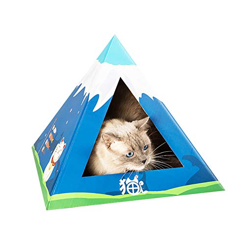 Fuji Box (CWZJ Dreieck-Vorhang Katze Kratzbrett Wellpappe Katze Wurf Spielzeug-Box Fuji Bergpyramide,Blue)