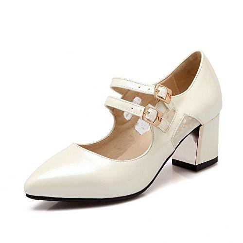 VogueZone009 Femme à Talon Correct Couleur Unie Boucle Fermeture D'Orteil Pointu Chaussures Légeres Beige
