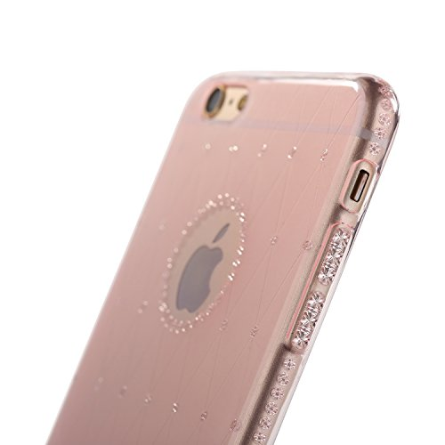 Case for iPhone 6/6S Translucent Cover Flexible Soft TPU Anti-Scratch Bling Sparkle Shining Style for Apple iPhone 6/6S - Transparent Pink