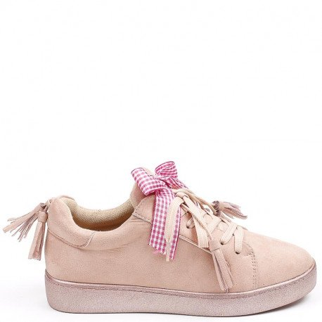 Ideal Shoes - Basket effet daim avec nœud et franges Teona Rose