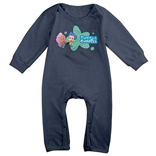 Monicago Neugeborenes Baby-Jungen-Mädchen-Bodysuit-Lange Hülse, Baby Romper Bubble Guppies Long Sleeve Bodysuit Outfits Clothes Navy