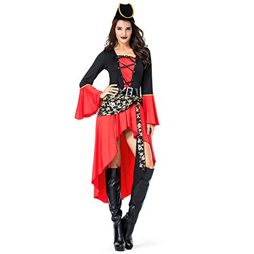 Kostüm Der Königin Krieger - CJJC Kreative Lady Pirate Kostüm, Kreuzgurte Halloween Cosplay Uniform Set Mit Gürtel Und Hut Ideal Für Performance Party Gebrauch
