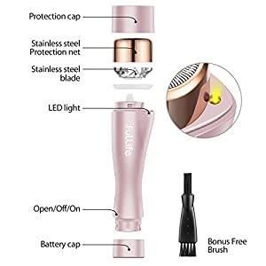 Flawless Facial Hair Remover for Women, Fullife Hair Removal Waterproof Shaver with Built-in LED Light for Peach Fuzz, Fine Hair