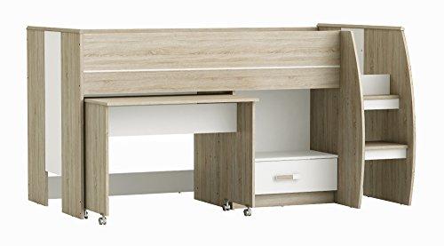 Jugendmöbel24.de Hochbett Niklas grau/weiß inklusive Schreibtisch + Schublade + Lattenrostplatte EN 747-1+A1 Kinderzimmer Multifunktions Kinderbett Spielbett -