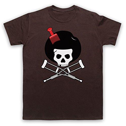Inspiriert durch Jackass Skull & Crossbones Logo Afro Pick Unofficial Herren T-Shirt Braun