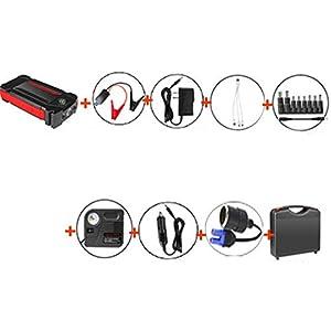 HAGZ Arrancador portátil de 600A 20000mAh, Paquete de Refuerzo de batería de Emergencia con Salidas de Carga USB Dobles, Linterna LED y brújula