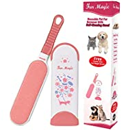 Fur Magic Pet Hair Remover Lint Brush With Self-Cleaning Base, Improved Handle, Double-sided Fur Brush for Dog and Cat, Pink Limited Edition