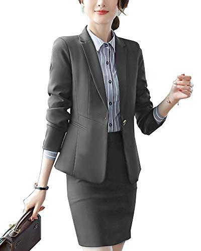 030d3ee59d56 Completo Donne Slim Fit Elegante Ufficio Business Giacca Tuta Blazer Gonna  E Top Grigio 1 3XL