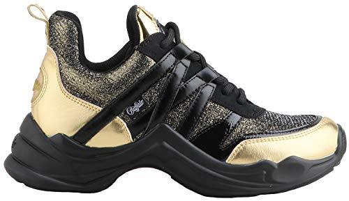 Buffalo Damen Sneaker CAVI, Frauen Low-Top Sneaker, Halbschuh strassenschuh schnürer schnürschuh sportschuh Plateau-Sohle Dame-n,Gold,37 EU / 4 UK