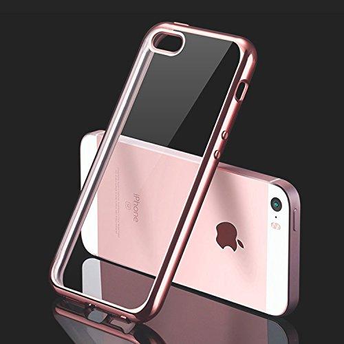 Orlegol iPhone SE Hülle, Ultra Dünn Handyhülle iPhone SE Case Weicher Silikon Hülle Kratzfeste Stoßfest Schutzhüllen Flexible TPU Bumper Case Cover für iPhone SE/5S/5 - Rose Gold