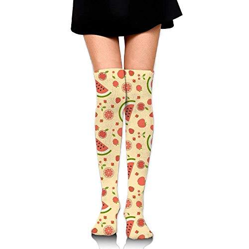 Kostüm Yellow Submarine - Gped Kniestrümpfe,Socken,Red Fruits Yellow Background Casual Crew Top Socks,Tube Over Knee Nursing Compression Long Socks,3D Printed Sports for Girls&Women 50 cm