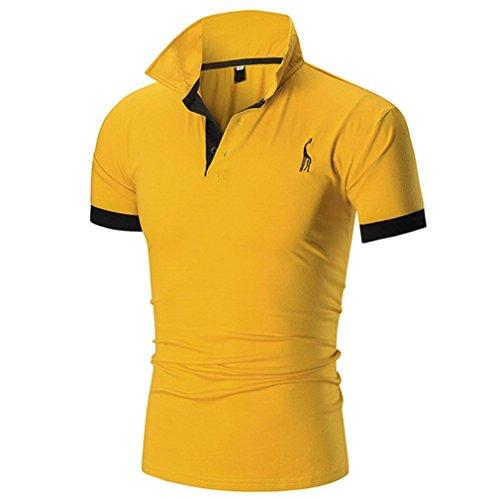 GreatestPAK T-Shirt Männer Herren Kitz Brustmarke Stickerei Manschetten Polo Hemd T-Shirt,Gelb,XL