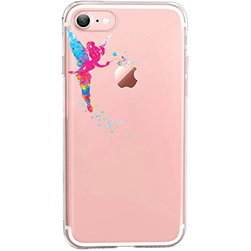 GIRLSCASES® | iPhone 8 / 7 Hülle | Im Macaron Girly Look aus Silikon | Fashion Case transparente Schutzhülle Tinkerbell Fee 1