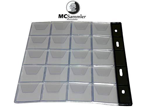 MC.Sammler 10 STK Münzenhüllen Münzhüllen Münzblätter für Münzen bis 30mm Durchmesser z.B für 1 Euro, 2 Euro Münzen -