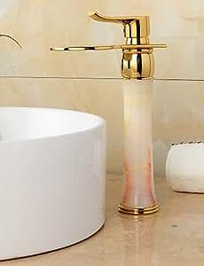 ti-PVD-Finish jade Messingwasserfall goldenen Waschbecken Wasserhahn