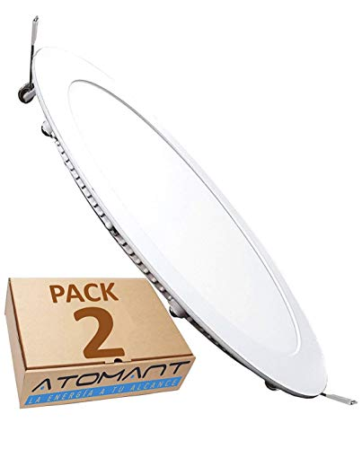 LED ATOMANT, S.L. Pack 2x Downlight LED Panel Extraplano Redondo, Iluminación 18W,...