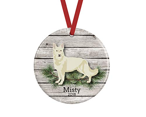 prz0vprz0v White German Shepherd Dog Ornament, Personalized Keepsake, 3