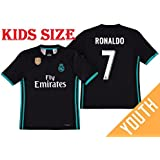 Shamyaan Ronaldo Jersey Black 2017 - 2018 - Real Madrid Away #7 Jersey Kit For Kids - Youth Sizes For Boys & Girls - New Latest Season 2017/18 CR7 Away Black Jersey Of Cristiano Ronaldo - Replica Design - Black