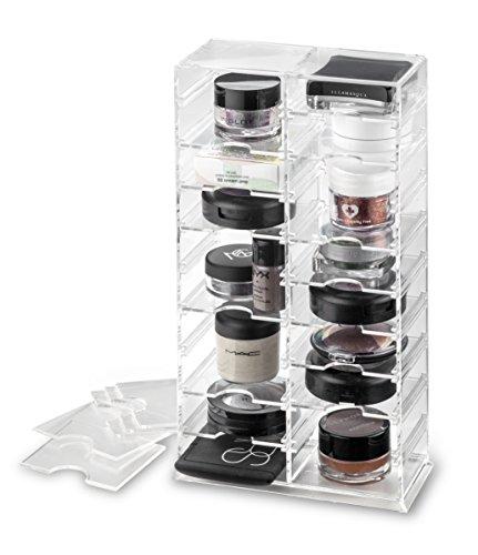 byAlegory Acrylique Organisateur de stand de maquillage avec diviseurs amovibles | 20 espaces conçus pour se poser et poser