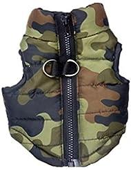 LEORX Pelaje del animal doméstico perro ropa cachorro Cotton-padded Vest ropa pecado mangas abrigo chaqueta - tamaño M (camuflaje)