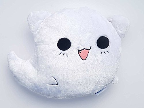 moodrush® Ghost Cat Smiley Kissen Geister-Katze | alle Elemente aufgestickt (nicht bedruckt!) | waschbar | ca. 38x38 cm