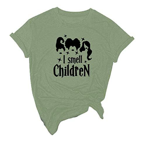 NnuoeN Magliette per Le Donne Maglietta Natalizia di Halloween per Le Ragazze delle Ragazze Cute Graphic Tee T Shirt Top Manica Corta