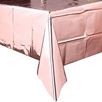 Rorchio Rose Gold Plastic Tablecloth Foil Table Cover for Rose Gold Party Table Decoration, 9ft x 4.5ft