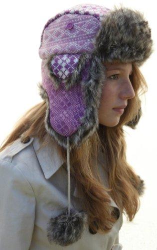 Classic Russian style Ushanka - Pink Trapper hat Sz 58cm