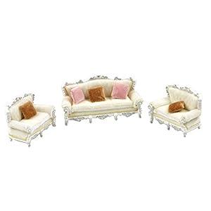 D DOLITY 1/25 Puppenmöbel Sofa Möbel Set für Puppenhaus Puppenstube Wohnzimmer - Weiß