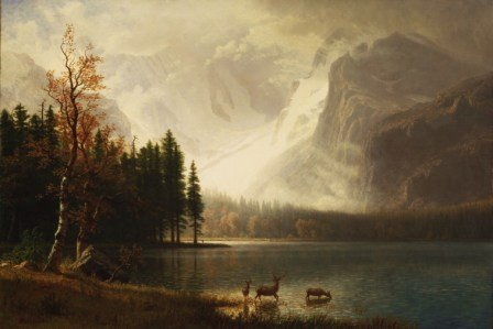 Albert Bierstadt - Estes Park, Colorade - Whyte´s Lake -- gerahmte Miniatur / Bild mit Rahmen - Format 10 x 15 cm, hinter Glas im Echtholzrahmen (Estes Park Albert Bierstadt)