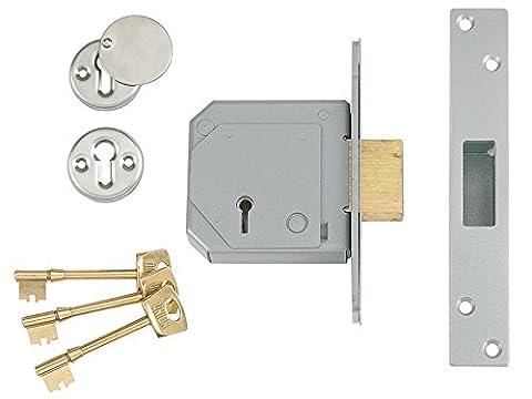 Union Locks 3G114E Série C Serrure mortaise à pêne dormant 5 leviers Chrome satiné 80 mm