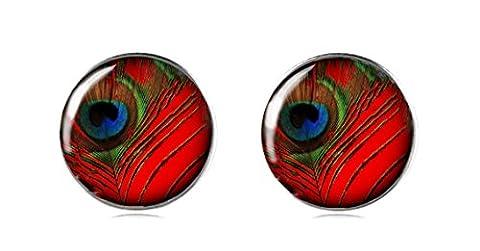 Tizi Jewellery 925 Sterling Silber Ohrstecker 12 mm Handgefertigt für Damen und Mädchen Roter Pfau Perfektes Geschenk oder für (Sterling Silber Diamant-medaillon)